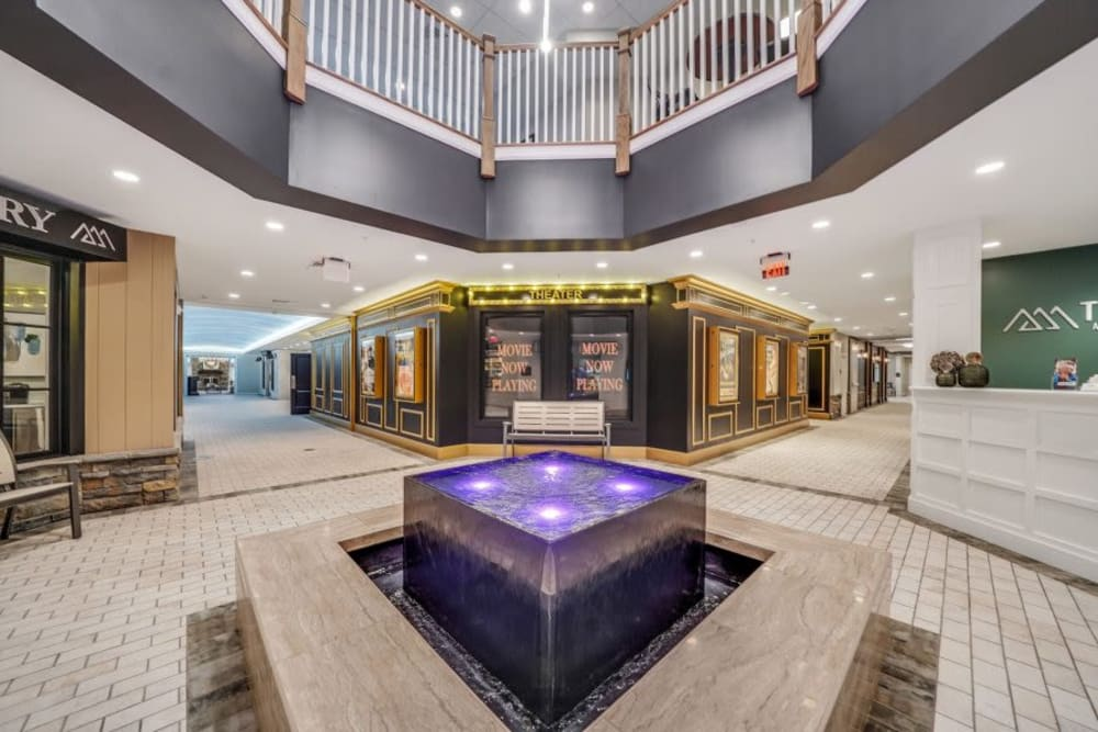 Indoor main street with shopping at Mercer Hill at Doylestown in Doylestown, Pennsylvania
