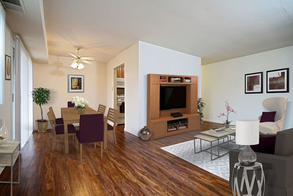 Hardwood flooring at King's Manor Apartments in Harrisburg, Pennsylvania