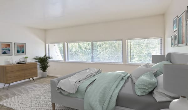 Bedroom at The Cascades Townhomes and Apartments