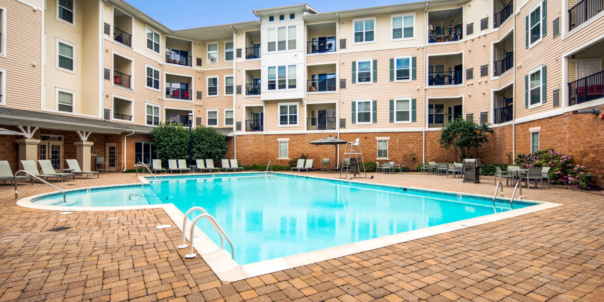 Resort style pool at Sofi Gaslight Commons in South Orange, New Jersey