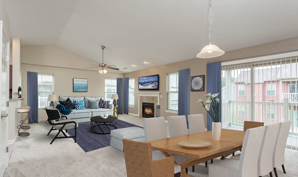 Livving room and dining table at Saratoga Crossing home
