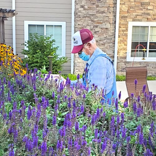 A resident gardening at The Oxford Grand Assisted Living & Memory Care in Kansas City, Missouri