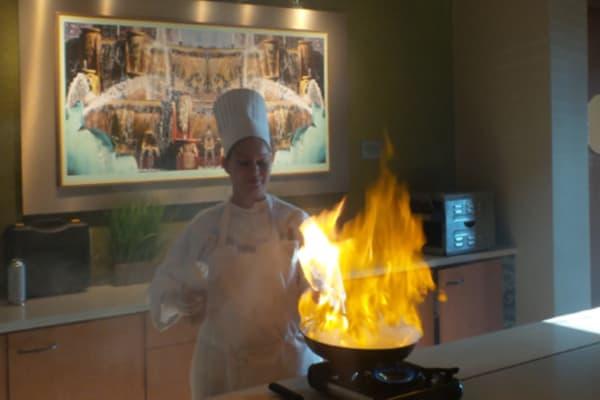 Chef preparing food for Sail the Greek Isles at All Seasons of Birmingham in Birmingham, Michigan