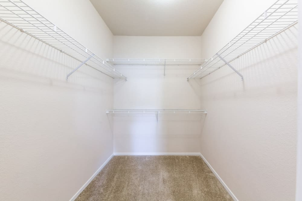 Walk-in closet with closet organizer at The Fairmont at Willow Creek in Folsom, California