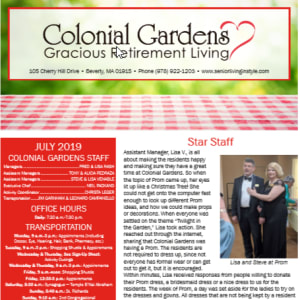 July Colonial Gardens Gracious Retirement Living Newsletter