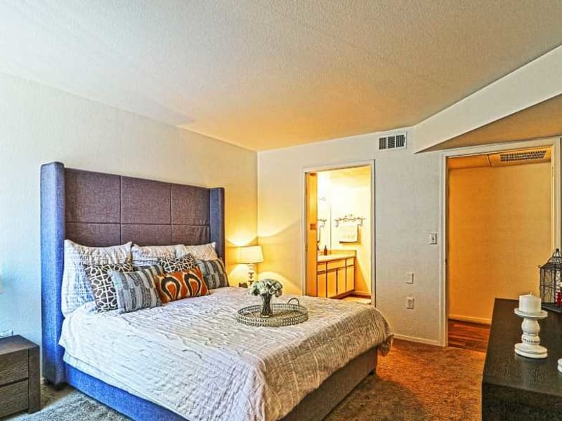 Master bedroom model at Monterra Apartment Homes
