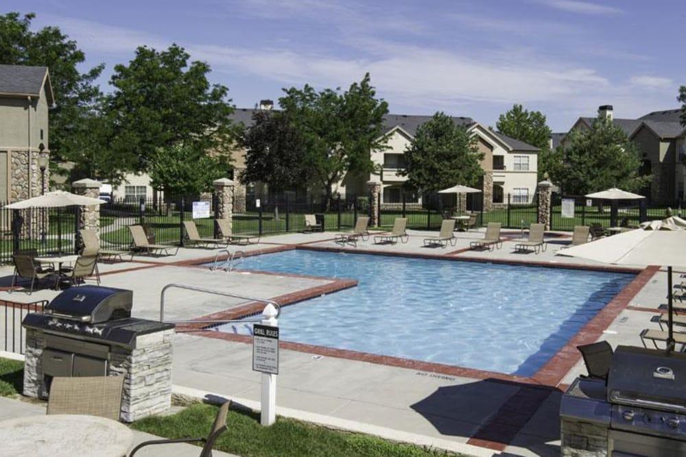 Outdoor pool at Alpine Meadows Apartments in Sandy, Utah