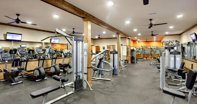 The gym is available 24 hours a day at The Grove at Stone Park in Pike Road, Alabama