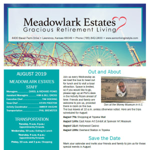August Meadowlark Estates Gracious Retirement Living newsletter