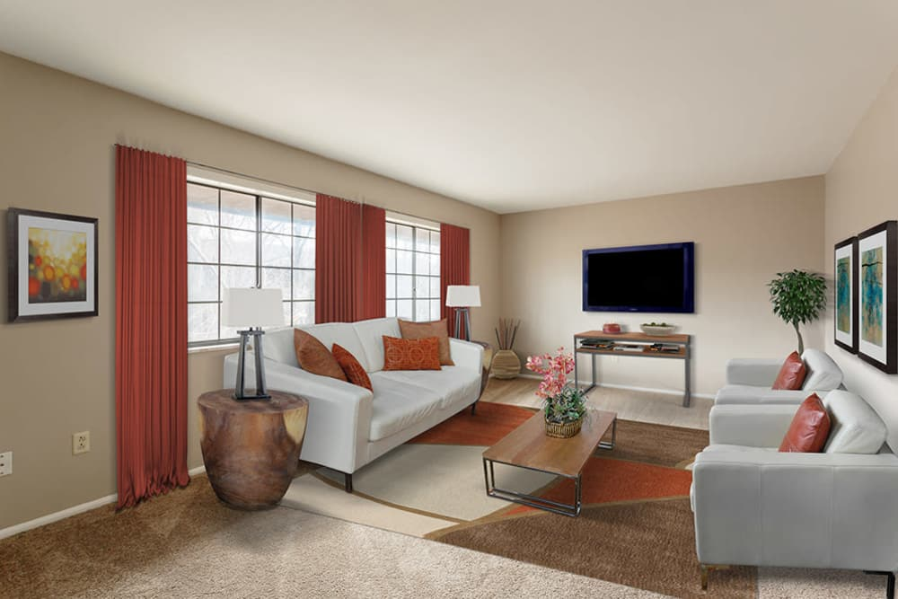 The Residences at Covered Bridge offers a luxury living room in Liverpool, New York