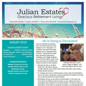 August Julian Estates Gracious Retirement Living newsletter