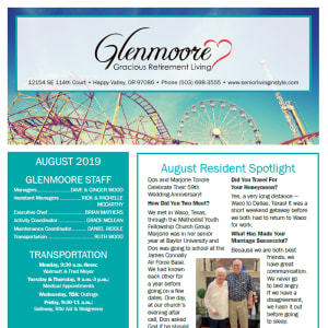 August Glenmoore Gracious Retirement Living Newsletter