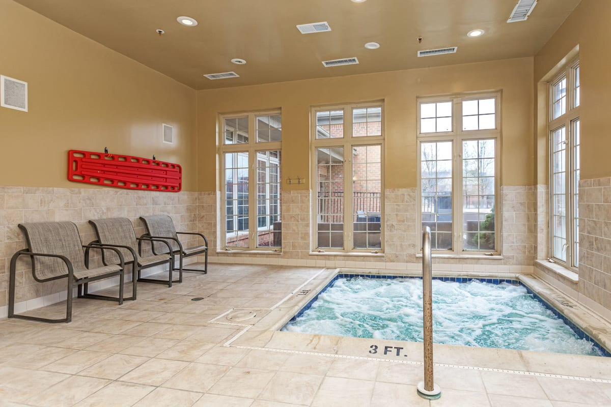 An indoor hot tub at Central Park Estates in Novi, Michigan