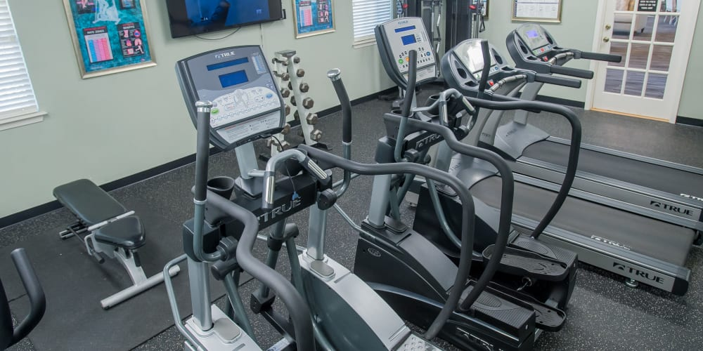 Fully equipped fitness center at The Greens of Bedford in Tulsa, Oklahoma
