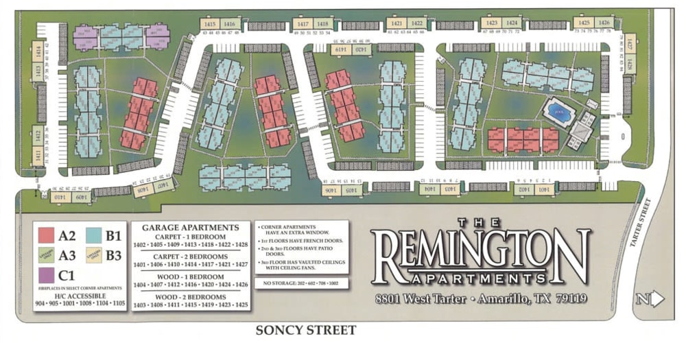 Site map for Remington Apartments in Amarillo, Texas