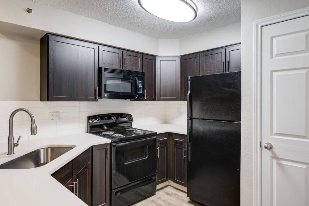 Newly renovated apartment homes with excess cabinet space at Ashford Belmar in Lakewood, Colorado
