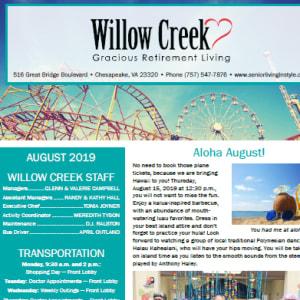 August Willow Creek Gracious Retirement Living newsletter