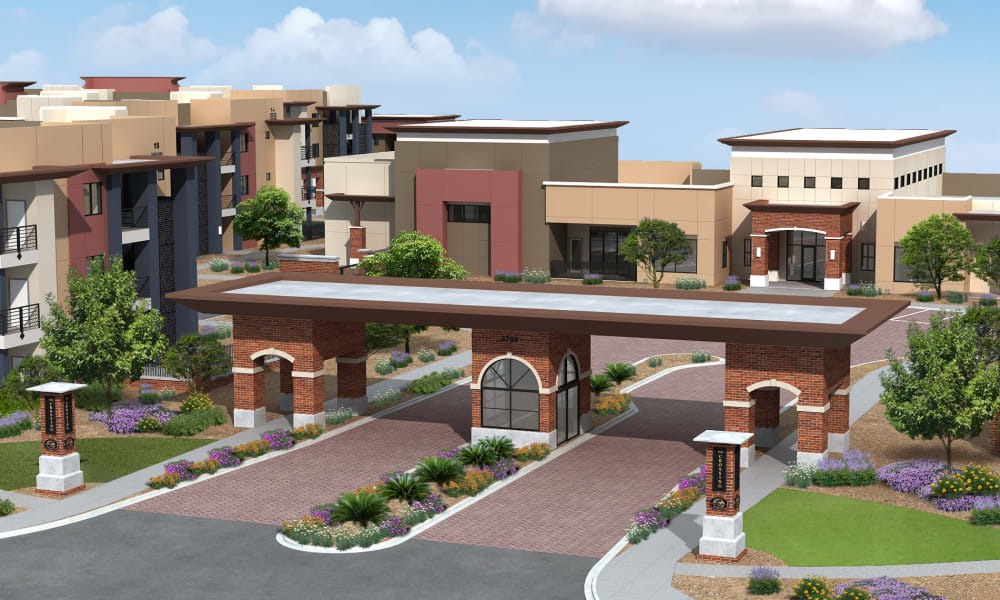 Front entry to apartment homes at The Crossing at Cooley Station in Gilbert, Arizona