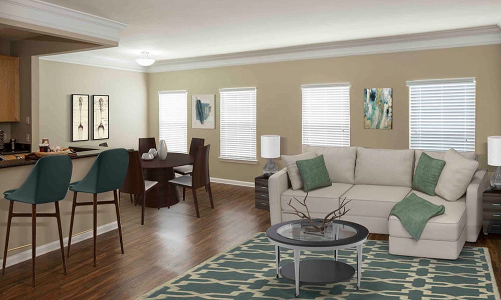 Open living room at Atkins Circle Apartments