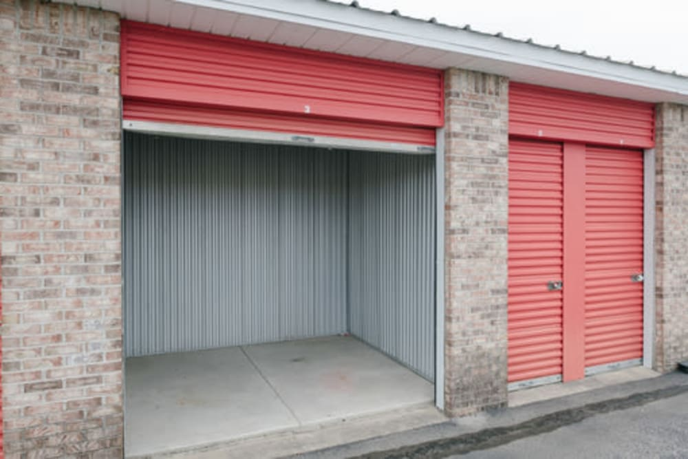 Roll-up doors on self storage units at StayLock Storage in Noblesville, Indiana