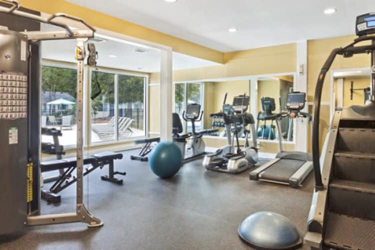 Fitness center at The Flats at Arrowood in Charlotte, North Carolina
