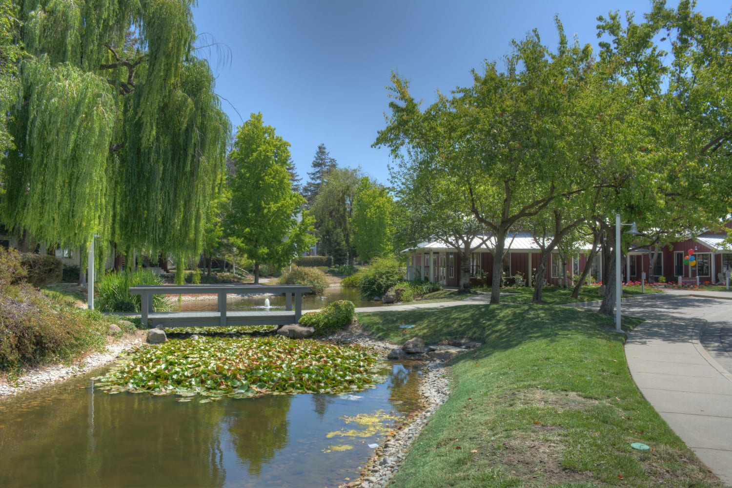 Bridge over pond at Cotton Wood Apartments in Dublin, California