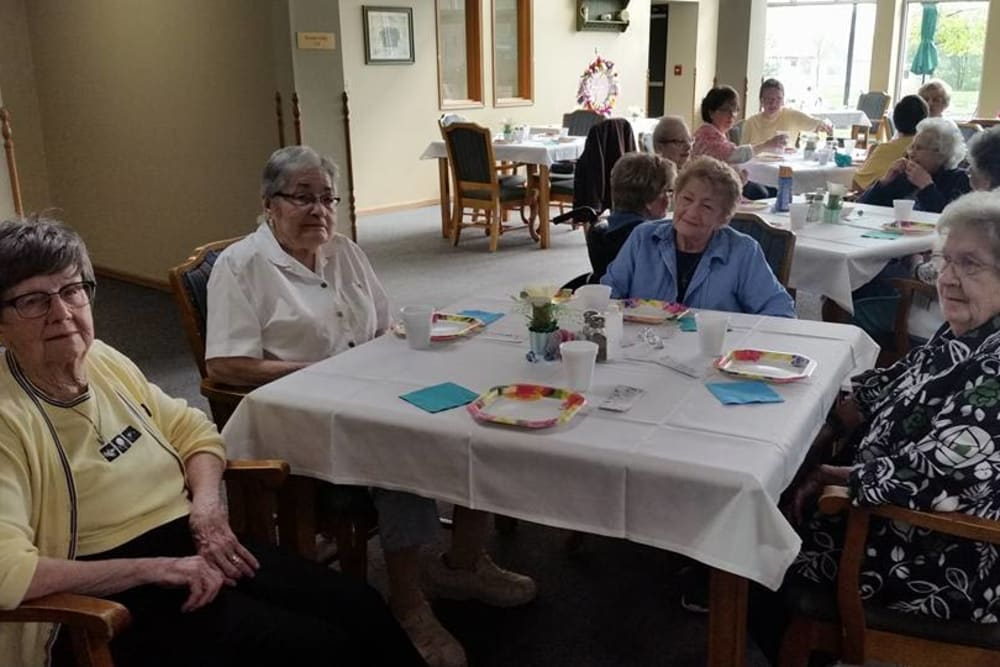 Residents gather for a meal at Prairie Meadows Senior Living in Kasson, Minnesota.