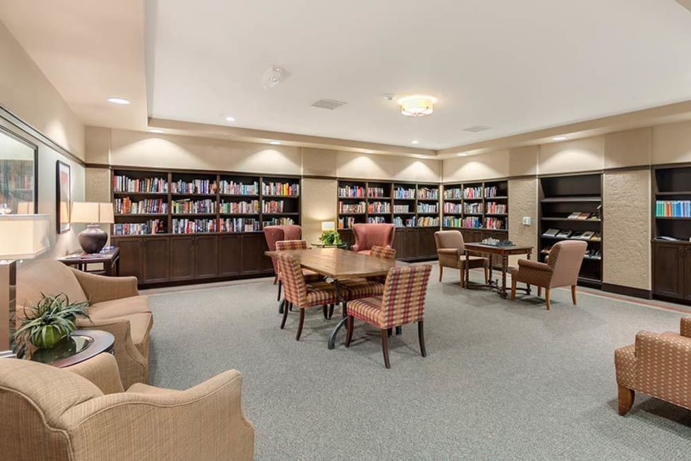 Resident library at Merrill Gardens at Green Valley Ranch in Henderson, Nevada.