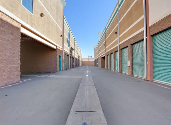 Drive-up storage units at A-1 Self Storage in Bell Gardens, California