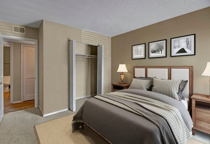 Bright, spacious bedroom with large closet at The Highland on Briley in Nashville, Tennessee
