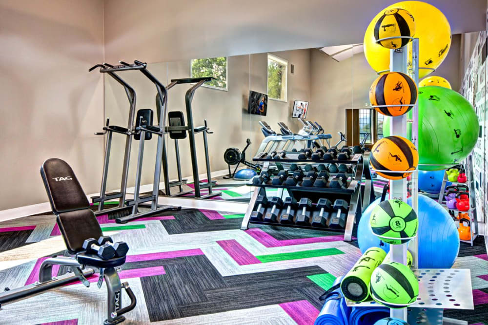 The fully equipped fitness center at Wellington Apartment Homes in Silverdale, Washington
