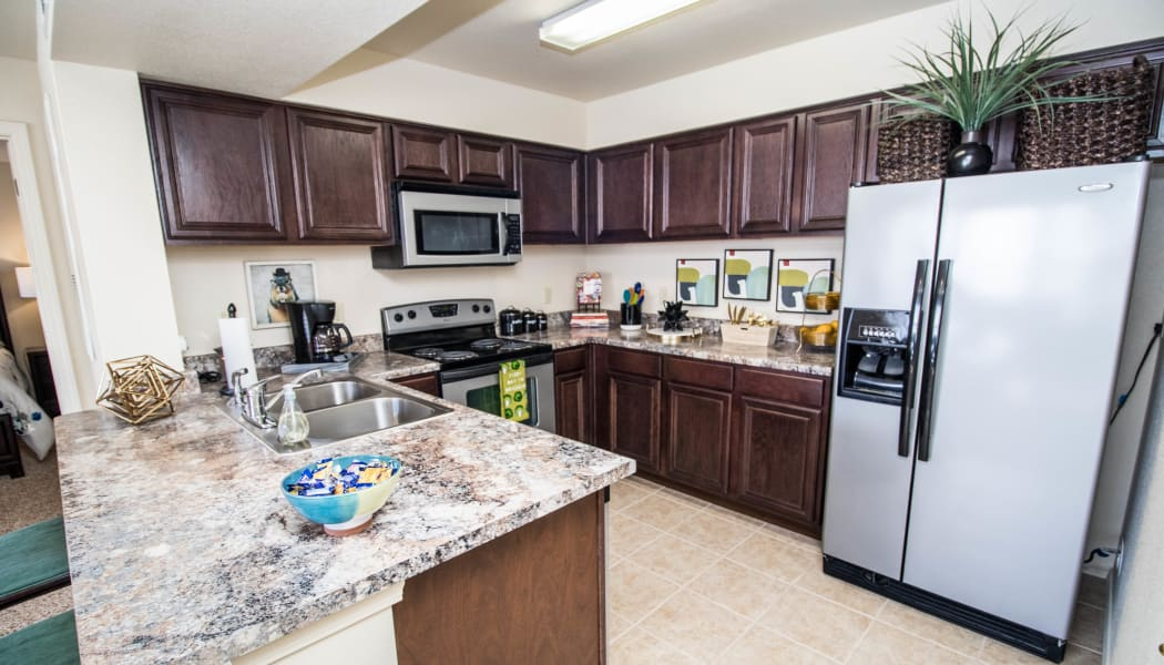Fully equipped kitchen at Tuscany Place in Lubbock, Texas