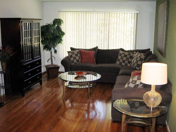 Living room at Ann Arbor Woods Apartments in Ann Arbor, Michigan