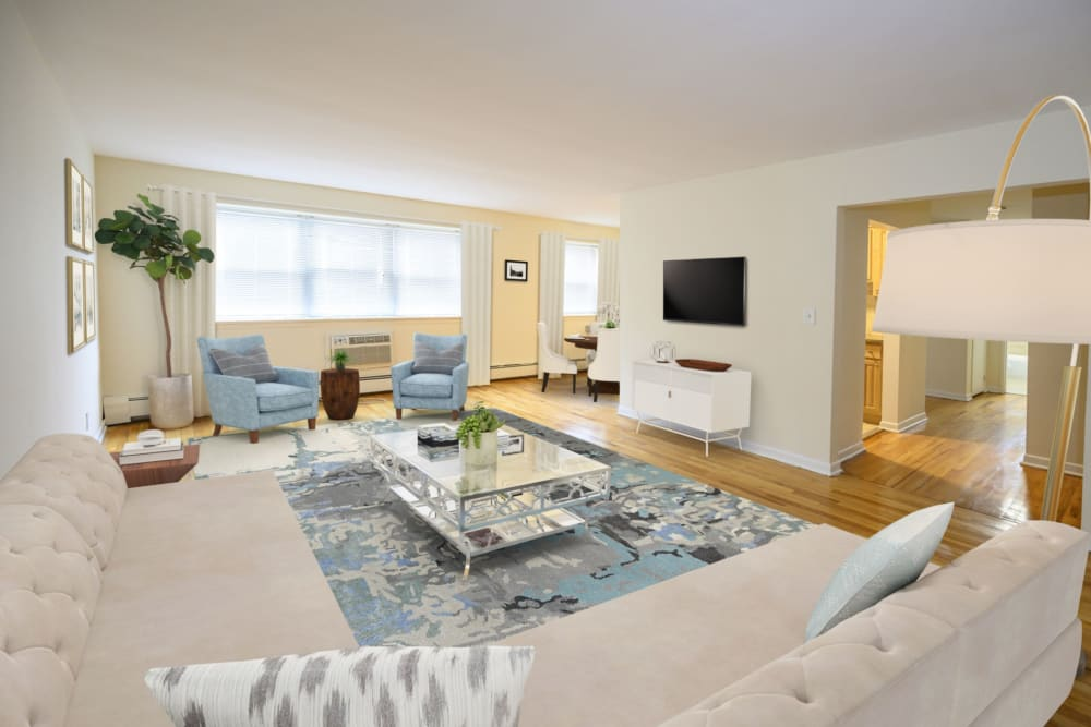 Open-concept living room at State Gardens in Hackensack, New Jersey
