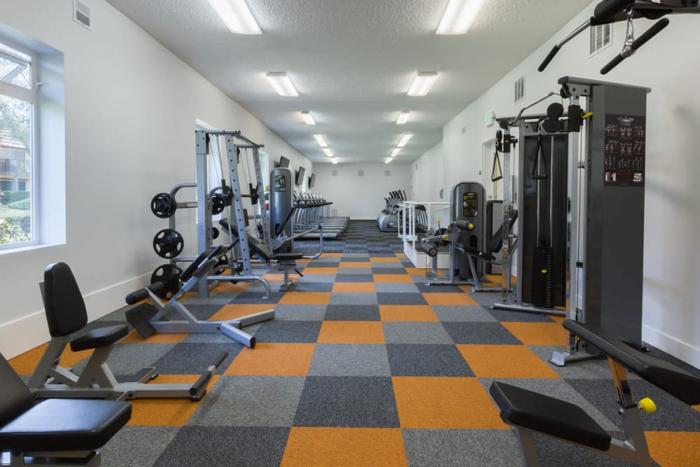 Fully equipped fitness center at Valley West Apartments in San Jose, California
