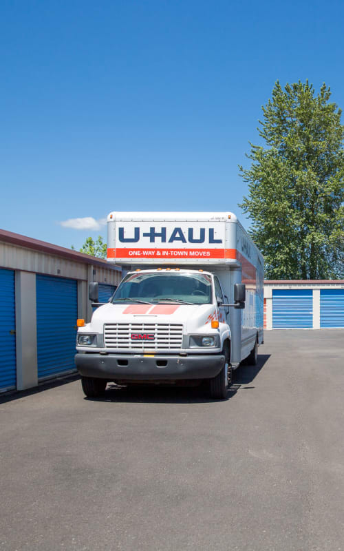 A U-Haul truck in front of units at Battle Ground Mini Storage in Battle Ground, Washington