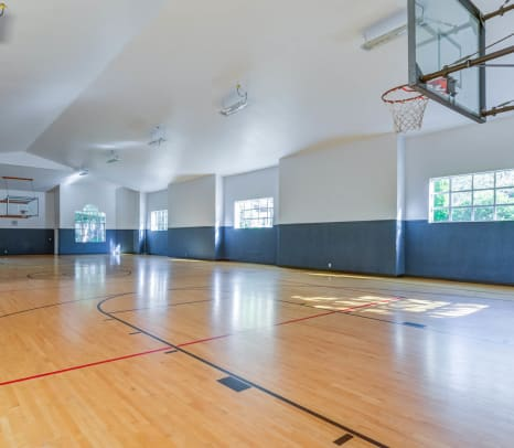 Full-size indoor basketball court at The Winsley in Everett