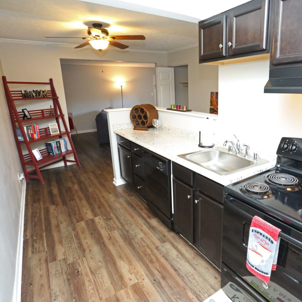 Kitchen with stainless steel appliances at Willowbrook Apartments in Louisville, Kentucky