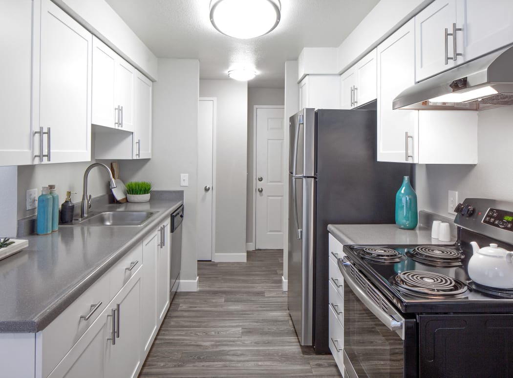 Modern, renovated kitchen in model home at Heatherbrae Commons in Milwaukie, Oregon