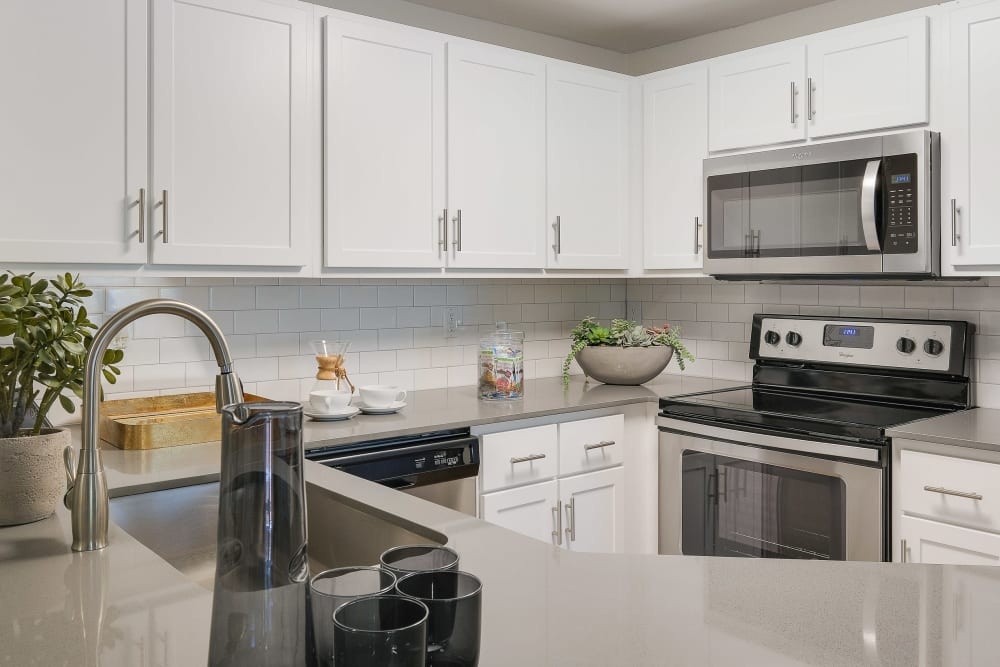 Beautiful, gourmet kitchen in a model home at Centro Apartment Homes in Hillsboro, Oregon