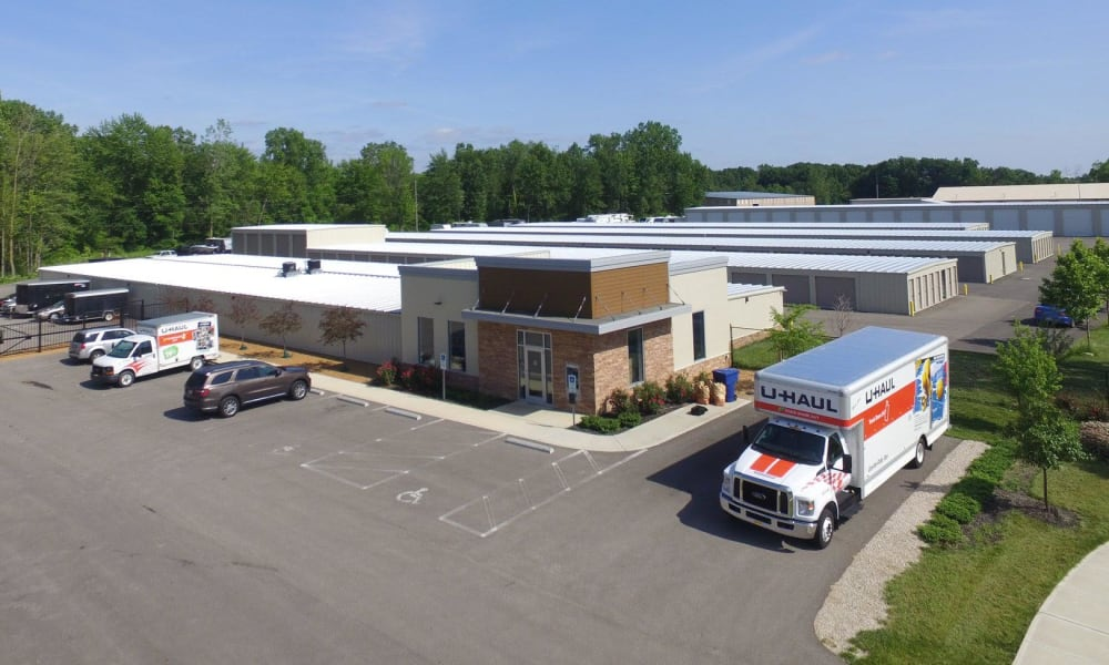 Aerial view of the leasing office and storage units at Stop-N-Go Storage in Delaware, Ohio