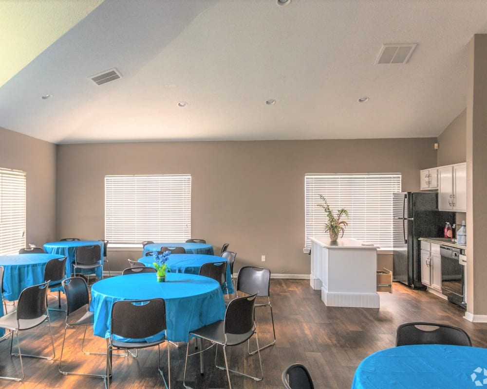 Seating area and kitchen at Cypress Creek Townhomes