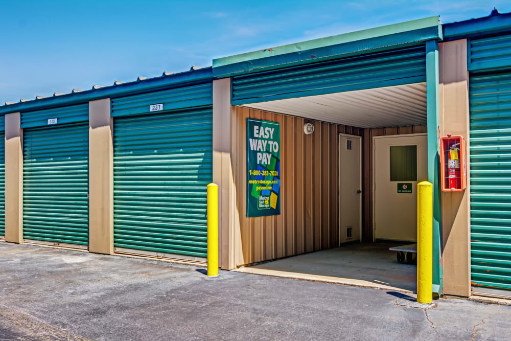 Open outdoor unit at Metro Self Storage in Norcross, Georgia