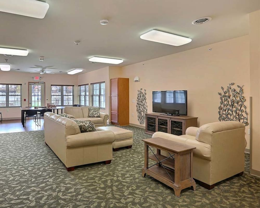 Comfortable resident TV room at Milestone Senior Living in Tomahawk, Wisconsin.