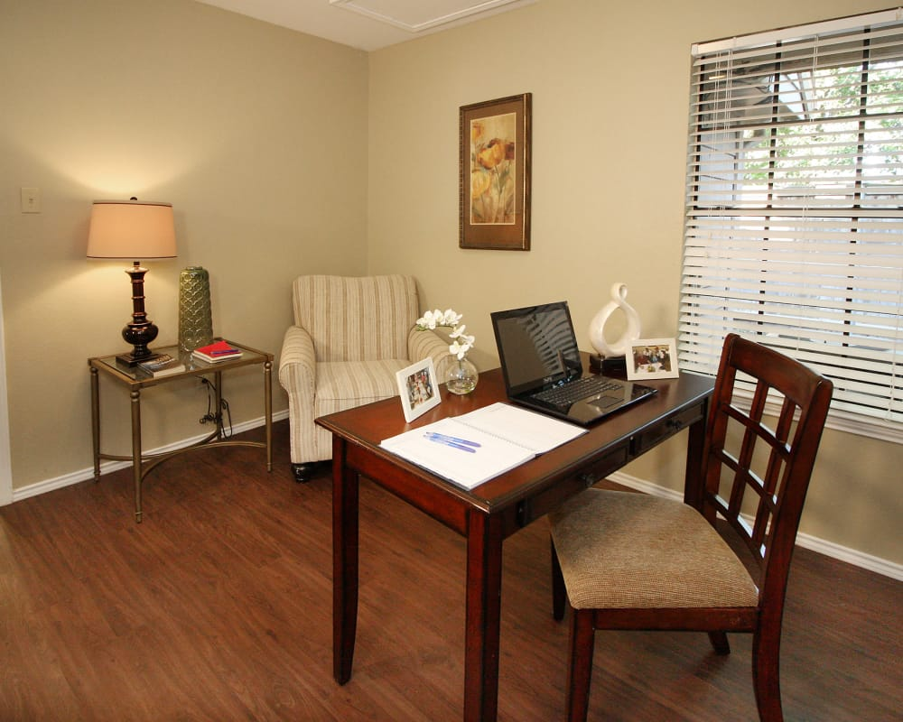 Study desk and reading nook at West Fork Village in Irving, Texas