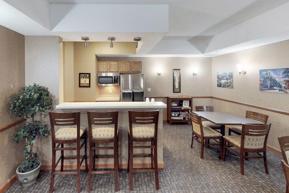 Clubhouse kitchen at Oaks Hiawatha Station in Minneapolis, Minnesota