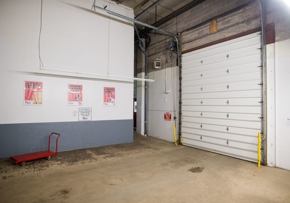 Large loading doors and carts available for use at Apple Self Storage - Halifax Westend in Halifax, Nova Scotia