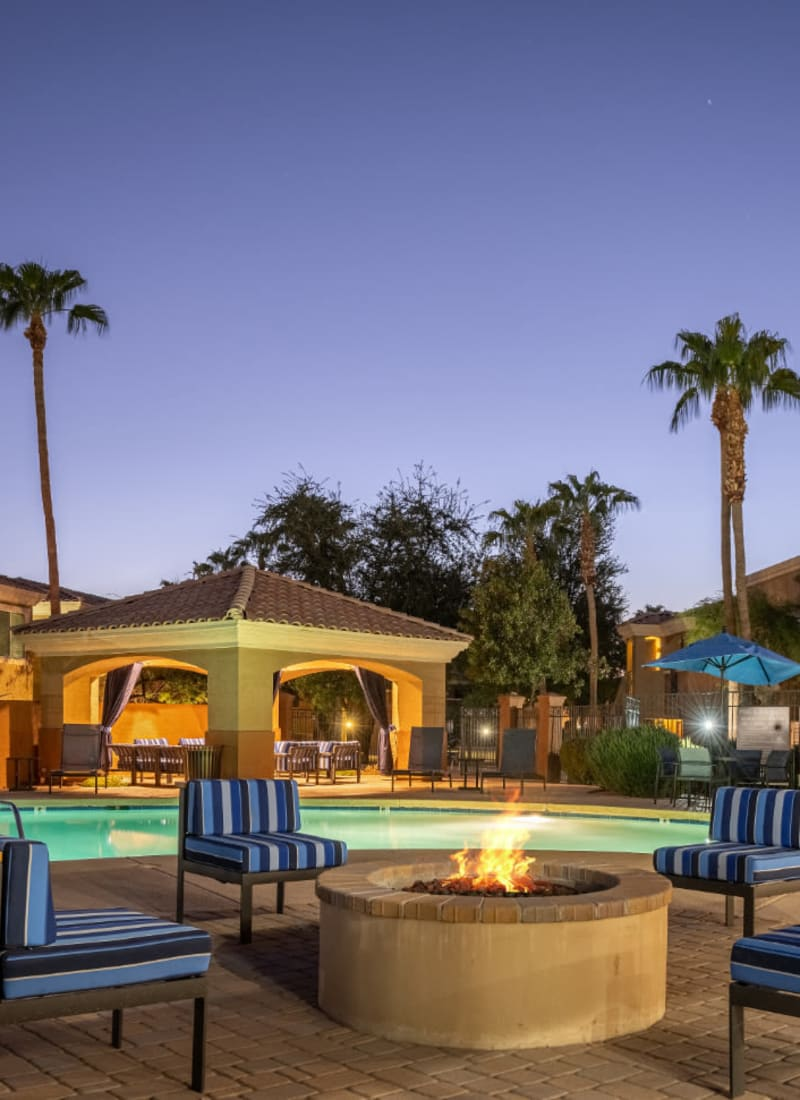 Poolside firepit at sunset at Alante at the Islands in Chandler, Arizona
