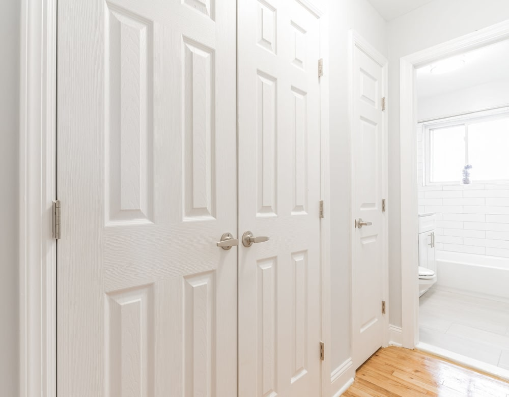 Ample closest storage at Brixton Lane in Levittown, New York