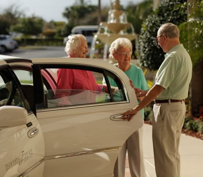 Residents getting ready to be driven into town at Tequesta Terrace in Tequesta, Florida